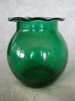 Collectible Vintage Deep Teal Green Blown Art Glass Ruffle Vase