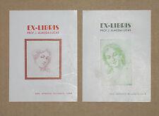 2 ex-Libris anciens 1946 Prof. J. Almeida Lucas Vintage