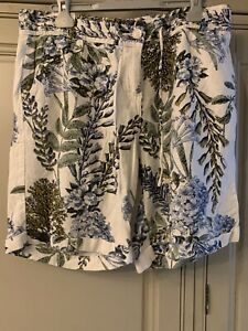 NEXT Linen Blend Floral Shorts White Size 12 With Pockets