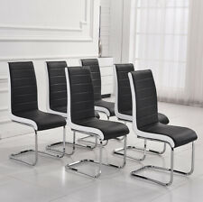 6x Black White Side Faux Leather Dining Chairs Chrome Legs Kitchen Room Office