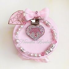 Pacifier clip made with Swarovski Crystals Beads and Pearls. Bling pacifier clip