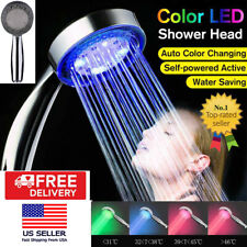 Led Colorful Changing Shower Head Water Glow Home Bathroom 3 Colors Light Abs