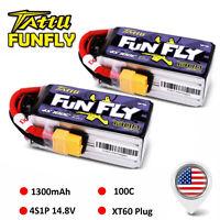 2X Tattu Funfly 1300mAh 4S 14.8V 100C Lipo Battery XT60 Plug For Quad FPV Drone