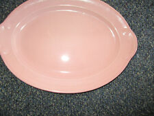 "Vintage T.S.&T Lu-Ray Pastels 12"" Pink Oval Serving Platter"