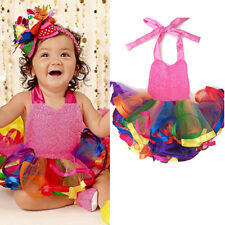 Baby Kids Girls Princess Skirt Toddler Party Tutu Lace Rainbow Tulle Dresses