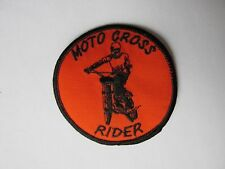 """Vintage 70's Moto Cross Rider Embroidered Patch 3"""" x 3""""  Free Shipping"""