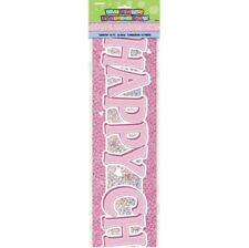 Prismatic Pink Happy Christening 12ft Banner Party Celebration Decoration