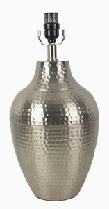 """Allen + Roth, 17"""" Nickel Dimmable Hammered Metal Lamp Base w 3 Light Settings"""