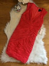 NEW VENUS CORAL FULLY RUCHED V NECK FORM FITTING SLEEVELESS DRESS xsmall