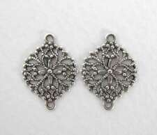 Antiqued Silver Ox Oval Flower Filigree Connector Finding Plated Brass 17mm