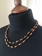 2x Plastic beaded long necklace copper coloured (each different shapes)