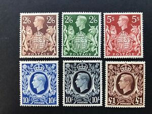 Great Britain 1939/48 KGVI High Values Set of 6 SG 476/78c MNH VF Cat £425