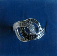 Sterling Silver Knot Style Black Diamond & White Diamond Ring - 0.15cts Size 9