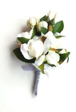 Corsage for Lady, Pin-on Ivory Rosebud Wedding Corsage for Mother, Silk Flowers