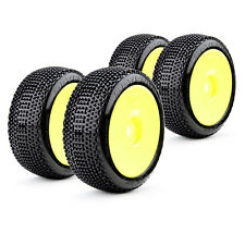 COMPLETE SET BUGGY RACING TYRES Revenger Soft 1:8 with Dish Rims Yellow