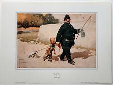 Policeman with boy & dog Small Fry by Artist Lawson Wood