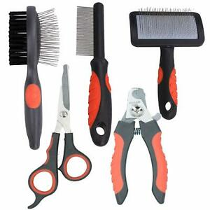 Dog Cat Groom Set:Fine Comb, Slicker/Double Sided Brush, Scissors, Nail Clippers