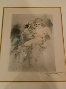 Louis Icart signed etching, Nude with man