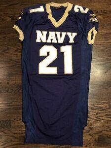 Game Worn Used Navy Midshipmen Football Jersey USNA Naval Academy Nike Sz S #21