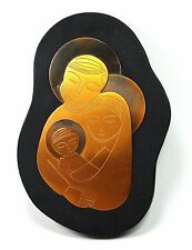 Mary, Joseph and Baby Jesus Wood Copper Mid-Century Wall Plaque (sb4)