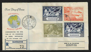 1949 Barbados UPU set on registered cachet first day cover to California FDC