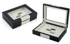 20 CUFFLINK CASE RING STORAGE BOX CUFF LINKS JEWELRY WOOD DISPLAY - 412020