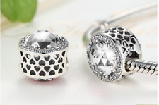 PANDORA RADIANT HEART CHARM CLEAR STONE x 1  925 STERLING SILVER