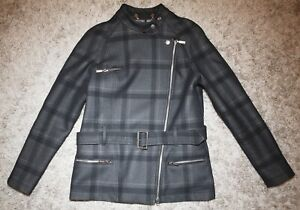 Barbour International KATANA CHECK WOOLEN Jacket -Grey - Size 10 [4313] TO SELL