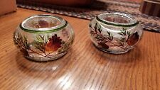 2 Crackle Glass Pinecone Tealight Candle Holders