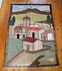 "Kilim Rug Tapestry Hand Woven Wool Beautiful Large 78"" x 48"" Village Church Folk"