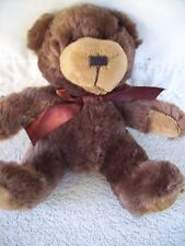 "NAPCO TEDDY BEAR DARK BROWN VERY SOFT CUDDLY PLUSH ANIMAL 8""  CLEAN"