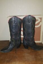 VTG WOMENS COWBOY BOOTS ACME SZ 6 M BLACK LEATHER LEGEND COWGIRL ROCKABILLY 60's