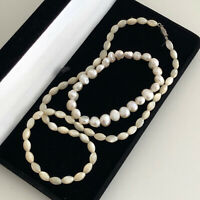 Pearl Necklace and Bracelet Bundle x2 Freshwater? Cultured? Mother Of Pearl