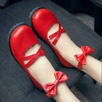 Sweet Lolita Girls Shoes  Womens Round Toe Cross Strap Bowknot Flat Mary Jane