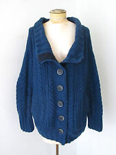 Yigal Azrouel chunky navy blue fisherman cardigan sweater jacket huge buttons  M