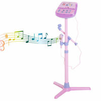 HOMCOM Kids Plug In Play Microphone w/ Stand Electronic Adjustable Height Light