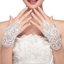 Women Lace Beaded Fingerless Bridal Wedding Party Evening Short Wrist Gloves Hot