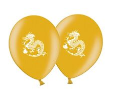 """Chinese Dragon Printed 12"""" Gold Latex Balloons pack of 10 by Party Decor"""