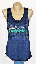 Miami Dolphins Womens Sequin Chevron Tank Top T-Shirt Navy 2XL - NFL