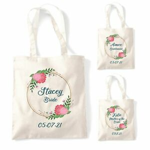 Personalised Bridal rose wreath custom design tote bag custom bride wedding