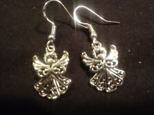Antique silver angel earrings with 925 sterling silver hooks