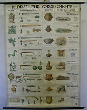 Schulwandkarte Wandkarte Steinzeit-Wikinger Waffen Schmuck Keramik Kunst 97x133