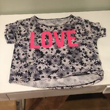 Material Girl Active Loose Crop Top T-Shirt Neon Pink Love Grey Daisy Daisies M