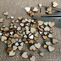50 Pcs DIY Artcuts Wooden Hearts Mini Mixed Embellishments for Craft Decor