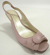 Anne Klein Shoes 6 Cecil Pastel Pink Peep Toe Ruched Button Slingback Wood Heels