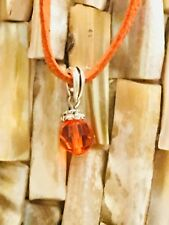 New Orange Faux Lather Cord Choker Charm Necklace Crystal Pendant Retro Hippie