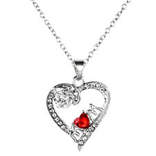 MUM NECKLACE Crystal Red Heart Silver Flower Birthday Mama Mother's Gift Present