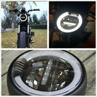 1 Pcs 6.8'' Motorcycle Cafe Racer White LED Halo Ring Retro Headlight Hi/Lo Beam