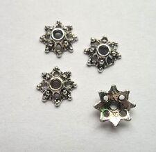 100pcs Tibet silver Flower End Beads Caps 7.5x2 mm