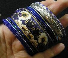 BOHO Glass Resin Steel Aluminum Brass Blue Silver Gold 11 Bangle Bracelet Set